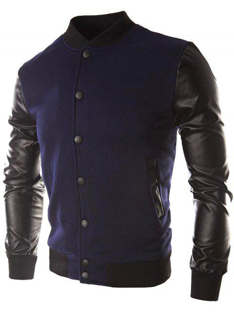 False Leather Sleeve Slash Pocket Jacket - CADETBLUE 2XL