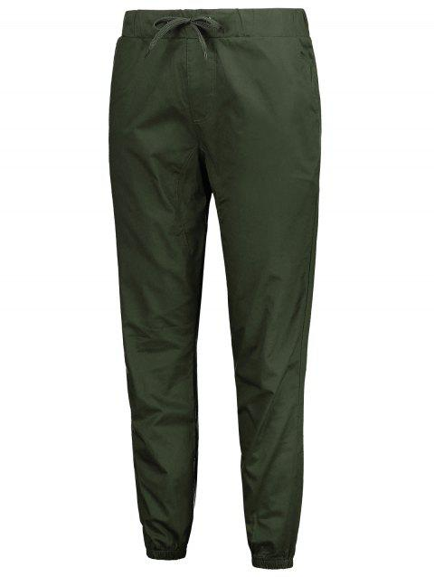 Stretchy Waist Solid Color Jogger Pants - ARMY GREEN XS