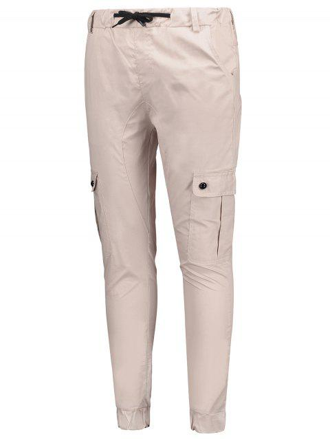 Drawstring Elastic Waist Half Ball Decoration Jogger Pants - LIGHT PINK XS