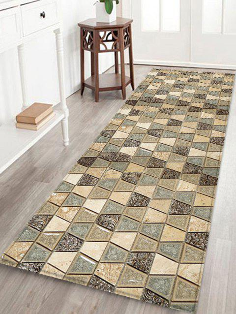 Vintage Geometric Pattern Decorative Flannel Bath Rug - CHAMPAGNE GOLD W16 X L47 INCH