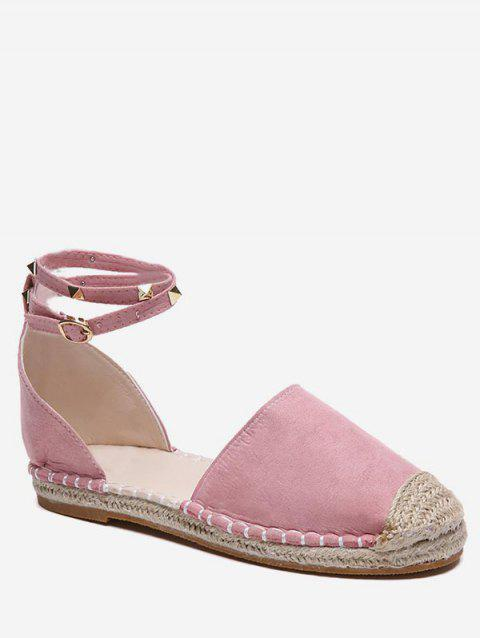 Rivet Strap Straw Braided Flats - LIGHT PINK EU 36