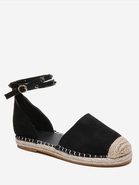 Rivet Strap Straw Braided Flats - BLACK EU 38