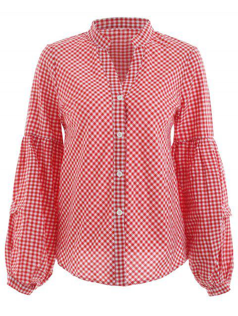 Balloon Sleeve Gingham Shirt - RED L