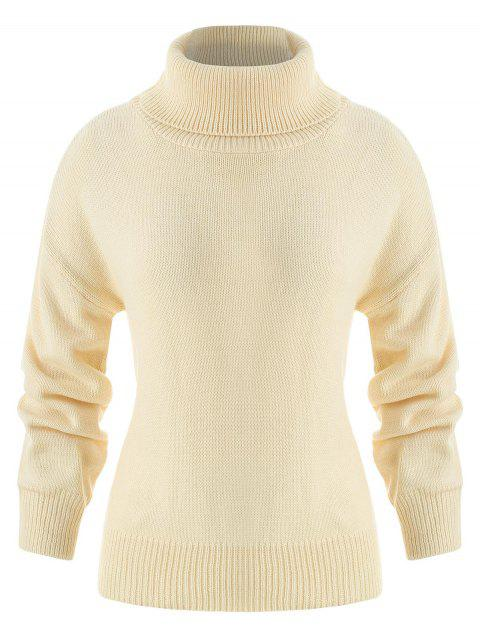 Chunky Turtleneck Sweater - BEIGE ONE SIZE