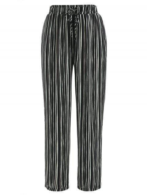 Striped Print Straight Pants - BLACK XL