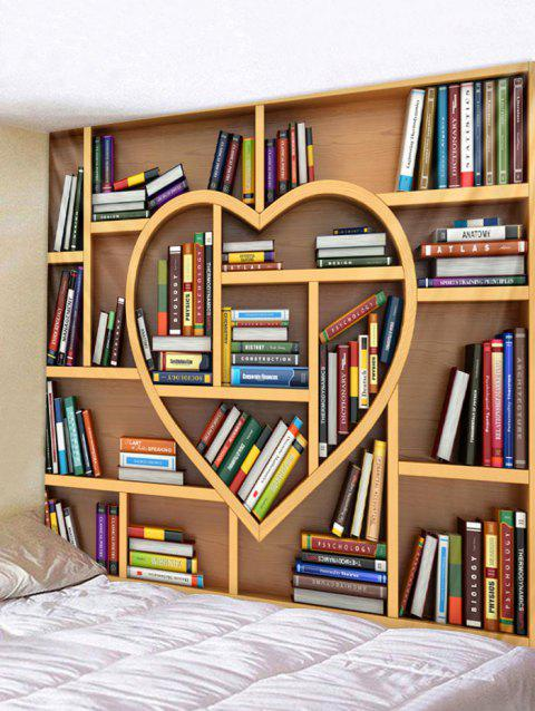 Heart Bookrack Printed Wall Tapestry Art Decor - multicolor W79 X L71 INCH