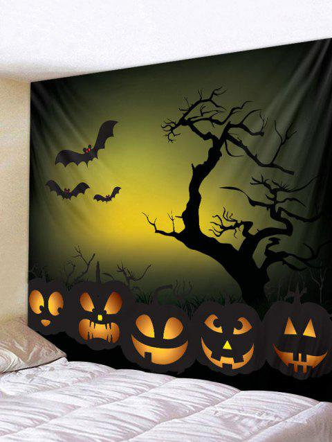 Halloween Bat Pumpkin Printed Wall Tapestry Art Decor - multicolor W79 X L71 INCH