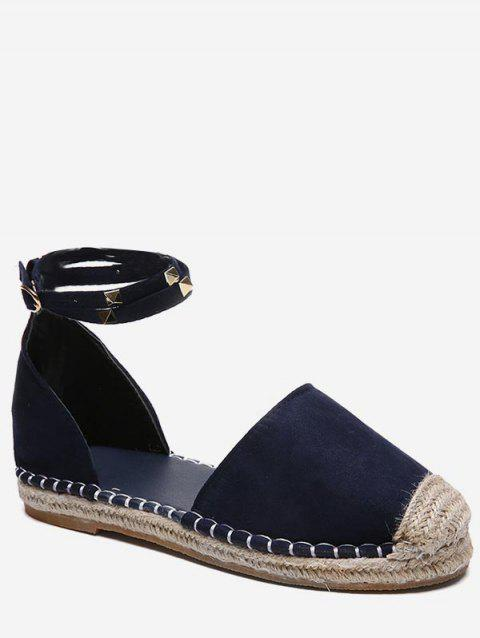Rivet Strap Straw Braided Flats - BLUE EU 38