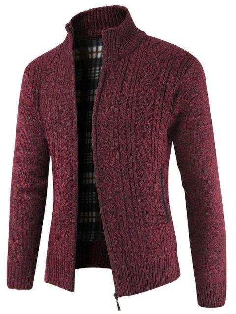 Faux Pocket Casual Zipper Sweater - RED WINE XS