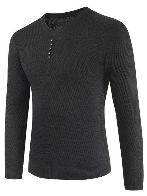 Buttons Decorated Casual Pullover Sweater - BLACK M