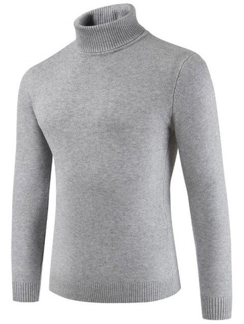 Turtle Neck Casual Slim Sweater - LIGHT GRAY 2XL
