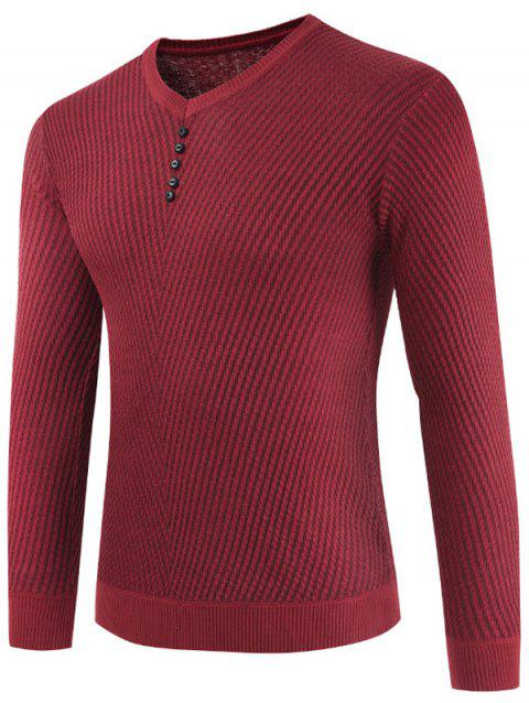 Buttons Decorated Casual Pullover Sweater - CHESTNUT RED M