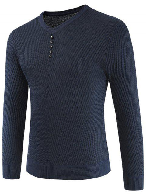 Buttons Decorated Casual Pullover Sweater - DARK SLATE BLUE 3XL