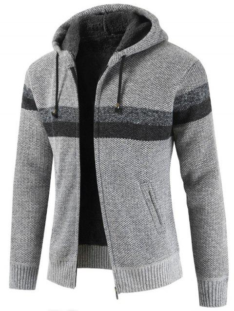 Striped Casual Zipper Hoodie Sweater - LIGHT GRAY L