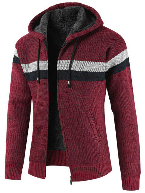 Striped Casual Zipper Hoodie Sweater - RED WINE L