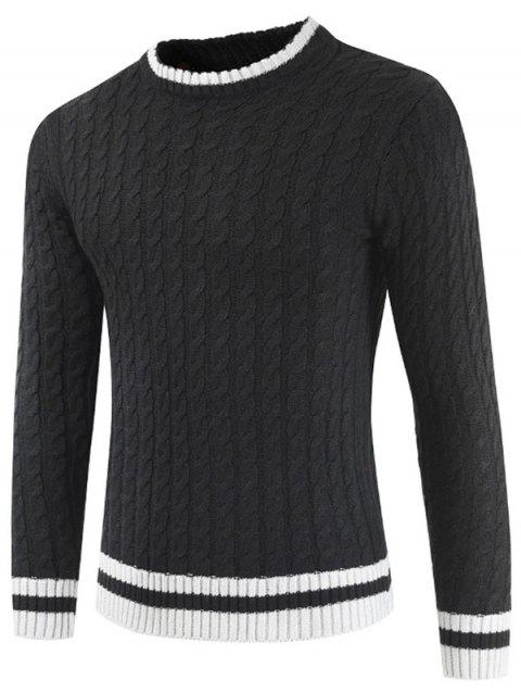 Round Neck Casual Ringer Sweater - BLACK M