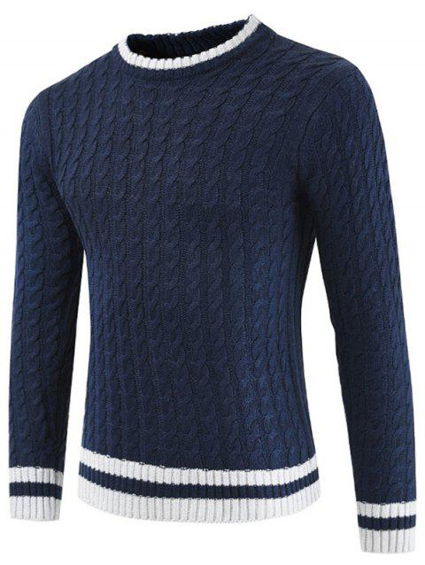 Round Neck Casual Ringer Sweater - DEEP BLUE L