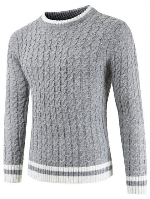 Round Neck Casual Ringer Sweater - GRAY CLOUD L