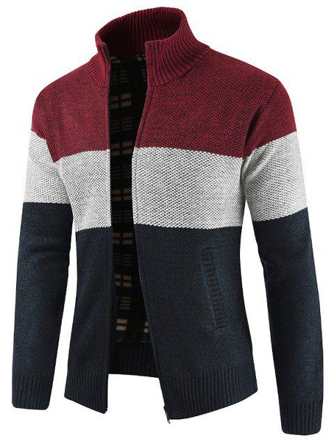 Bold Stripe Casual Faux Pockets Sweater - RED WINE 3XL
