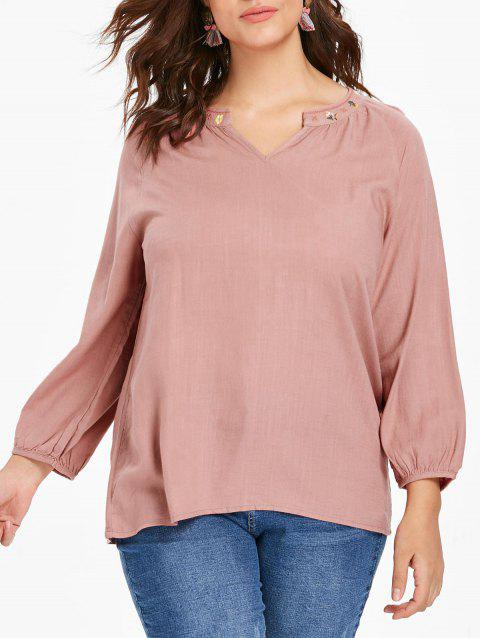 Plus Size Dip Hem Embroidered Blouse - PINK L