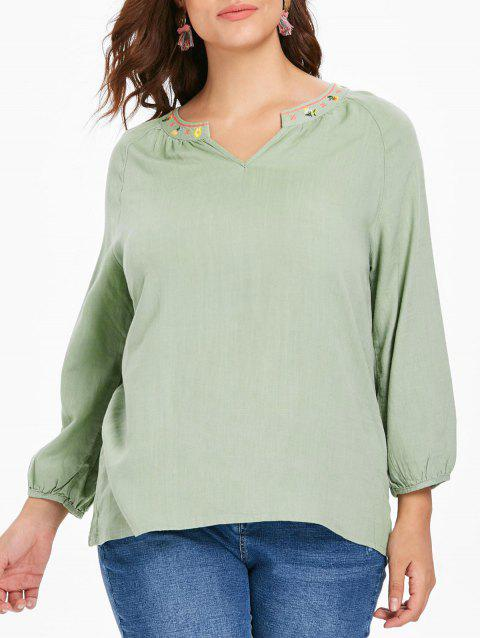 Plus Size Dip Hem Embroidered Blouse - DARK SEA GREEN L