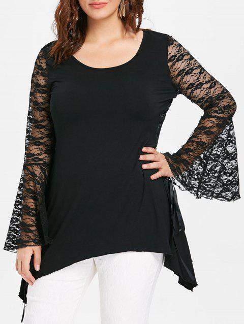 Halloween Plus Size Lace Up Flared Sleeve T-shirt - BLACK 2X