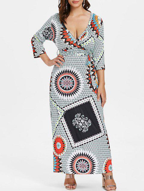 Belted Plus Size Ethnic Print Maxi Dress - multicolor 1X