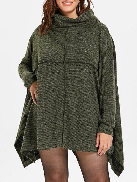 Plus Size Cowl Neck Knee Length Dress - ARMY GREEN ONE SIZE