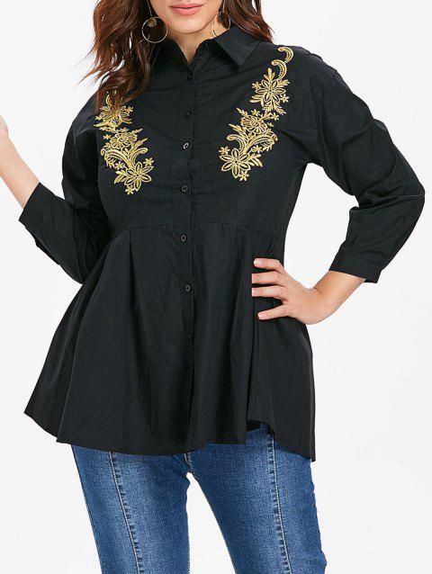 Plus Size Front Embroidery Shirt - BLACK 3X