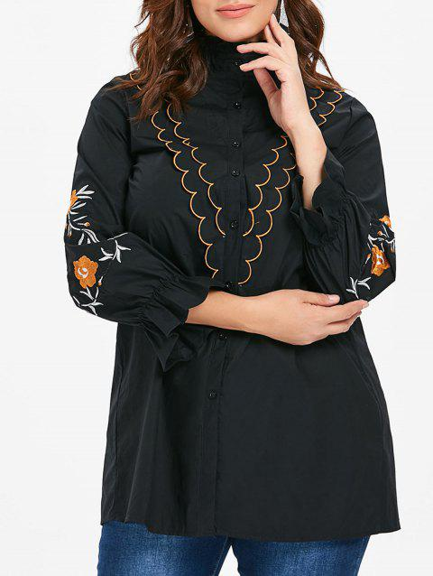 Plus Size Scalloped Detail Embroidery Sleeve Shirt - BLACK 3X