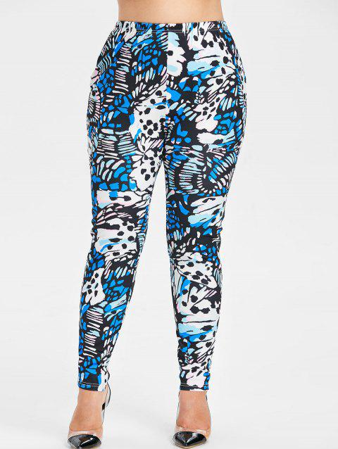 Plus Size Abstract Pattern Leggings - multicolor 1X