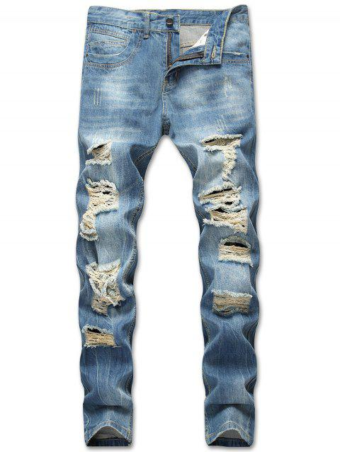 Zipper Fly Casual Ripped Jeans - BLUE IVY 32