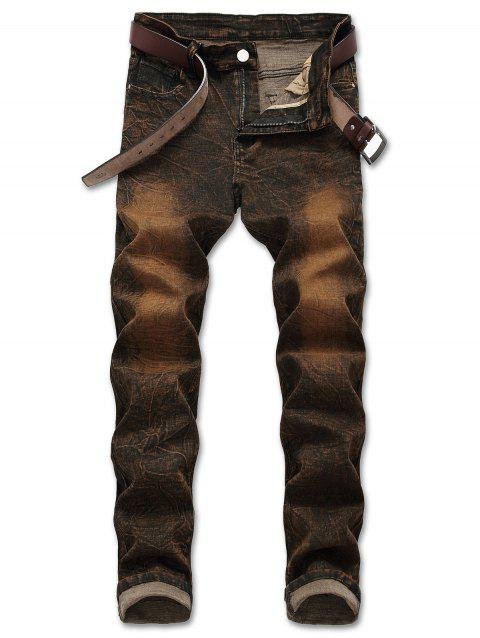 Distressed Faded Zipper Fly Jeans - BROWN BEAR 32