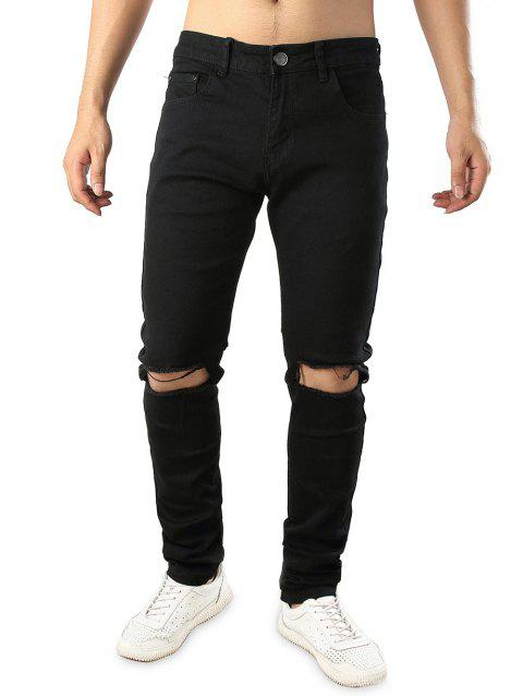 Stretchy Destructed Whickers Casual Ripped Jeans - BLACK 36