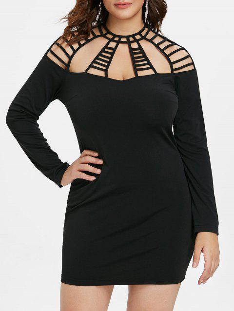 Plus Size Cut Out Tight Dress - BLACK 3X
