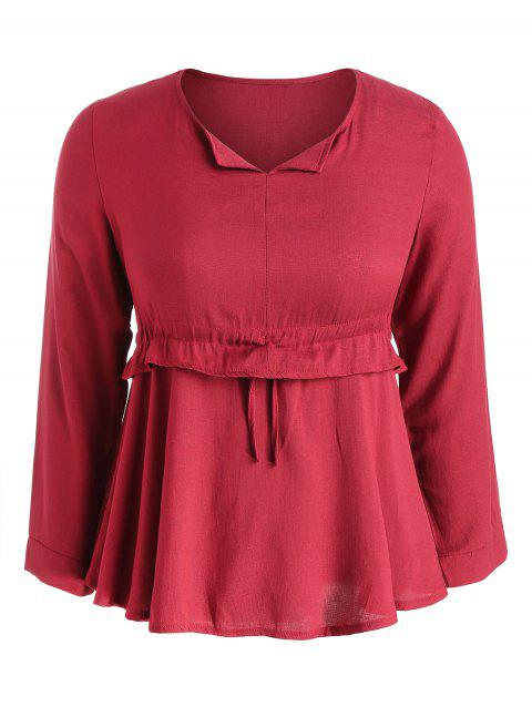 Plus Size Drawstring Waist Blouse - RED 5X