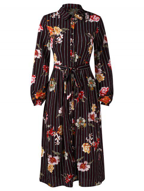 Floral Panel Stripe Print Midi Shirt Dress - BLACK 2XL