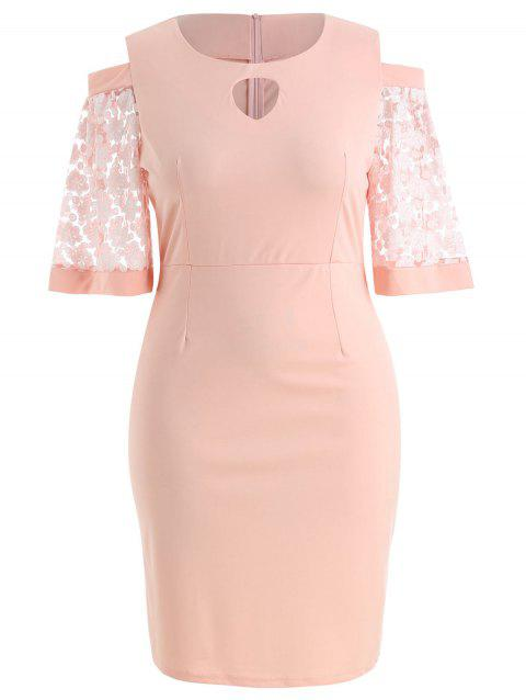 Plus Size Cold Shoulder Keyhole Dress - ORANGE PINK 3X