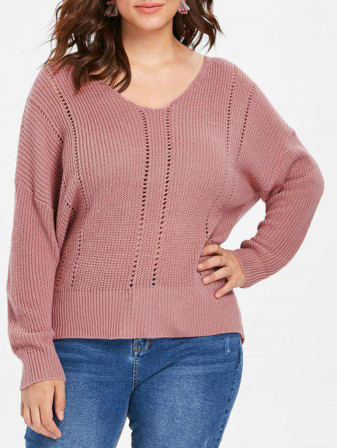 Plus Size Slim Fit Ribbed Panel Sweater - LIPSTICK PINK 1X