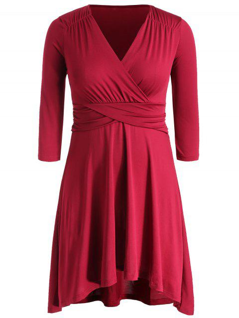 High Waist Plus Size Surplice Neck Dress - RED 2X