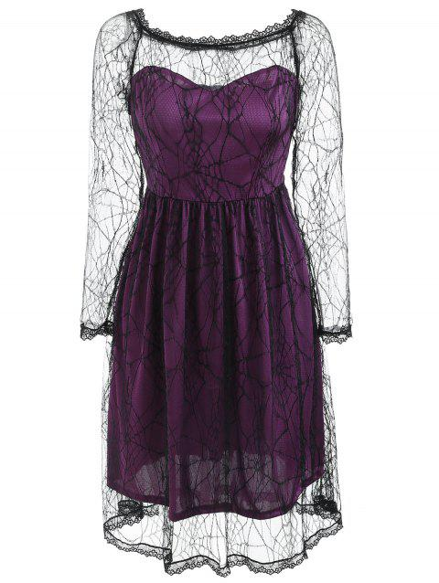 Halloween Spider Web Lace Dress - PURPLE L