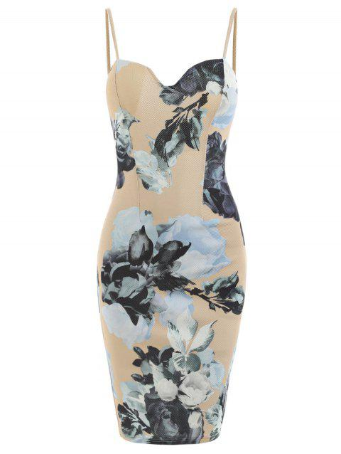 Spaghetti Strap Floral Bodycon Dress - BLANCHED ALMOND M