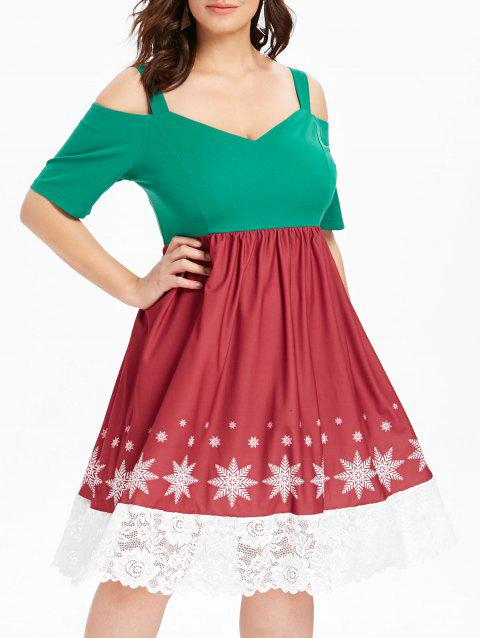 plus size cold shoulder christmas dress multicolor 4x