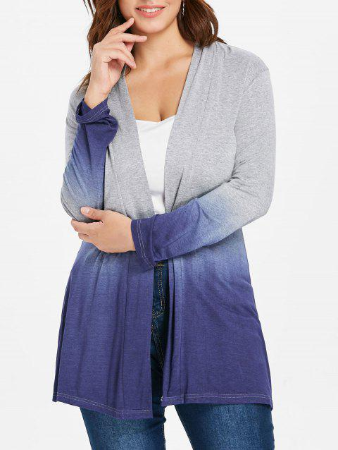 Long Sleeve Plus Size Ombre Coat - multicolor L