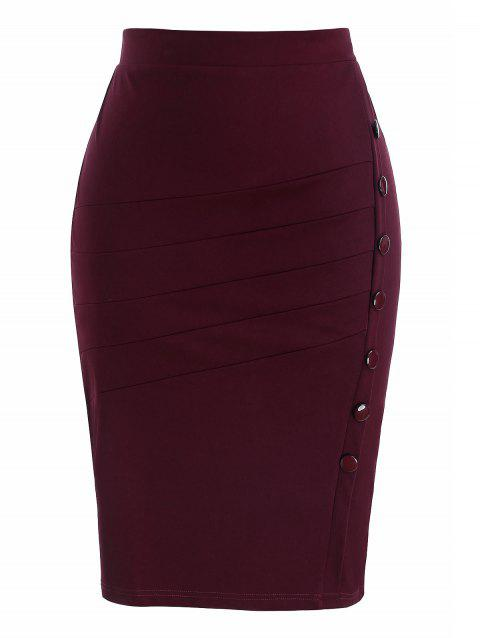 Plus Size Zipper Skew Button Skirt - RED WINE 2X