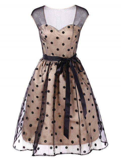 Vintage Dotted Mesh Panel Cut Out Pin Up Dress - BLANCHED ALMOND L