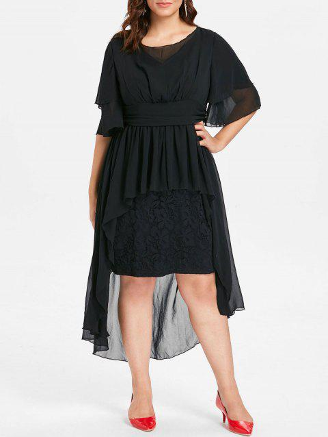 High Waist Plus Size Lace Insert Dress - BLACK 2X