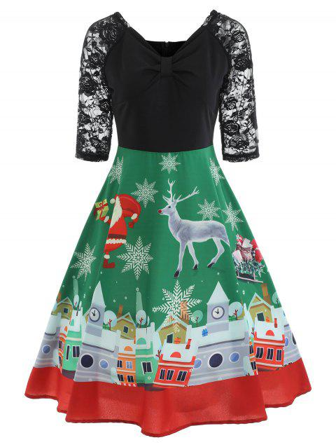 Christmas Lace Insert Fit and Flare Dress - BLACK 2XL