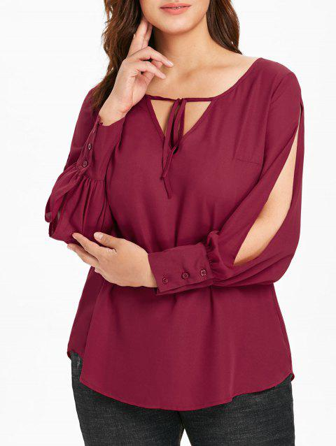 Plus Size Keyhole Neck Slit Sleeve Blouse - RED WINE 1X