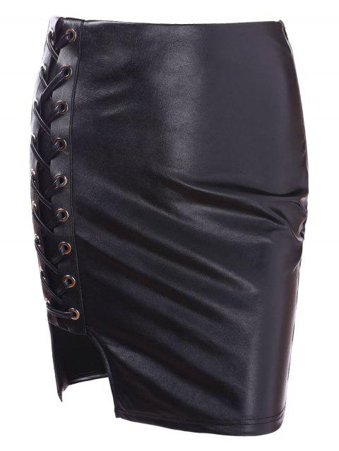 Faux Leather Lace Up Bodycon Skirt - BLACK XL